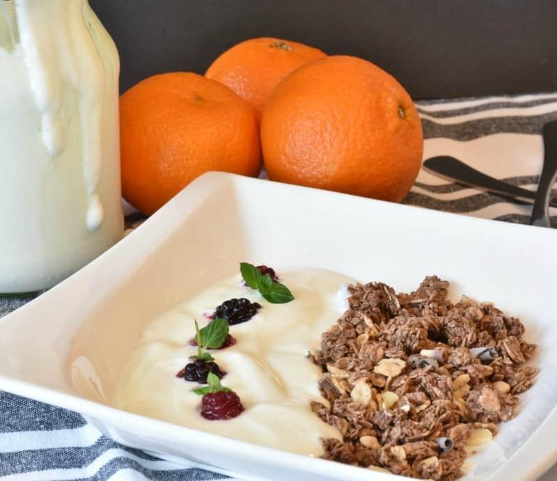 Muesli and yogurt for a healthy breakfast