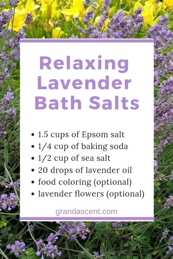Relaxing lavender bath salts recipe #lavender #lavenderoil #lavenderflowers #bathsalts #epsomsalts #essentialoils #naturalbeauty