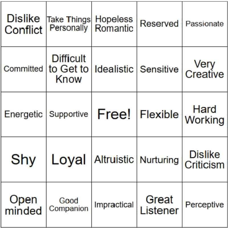 Fun game of INFP Bingo