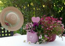 Flowers for mom, set on a table outdoors
