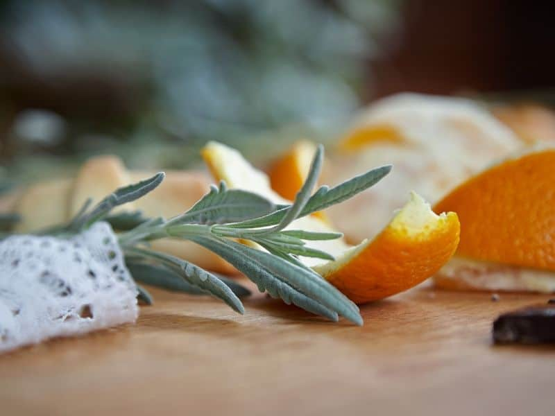 Lavender leaves and orange peels