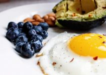 Heatlhy breakfast: egg, avocado and blueberries