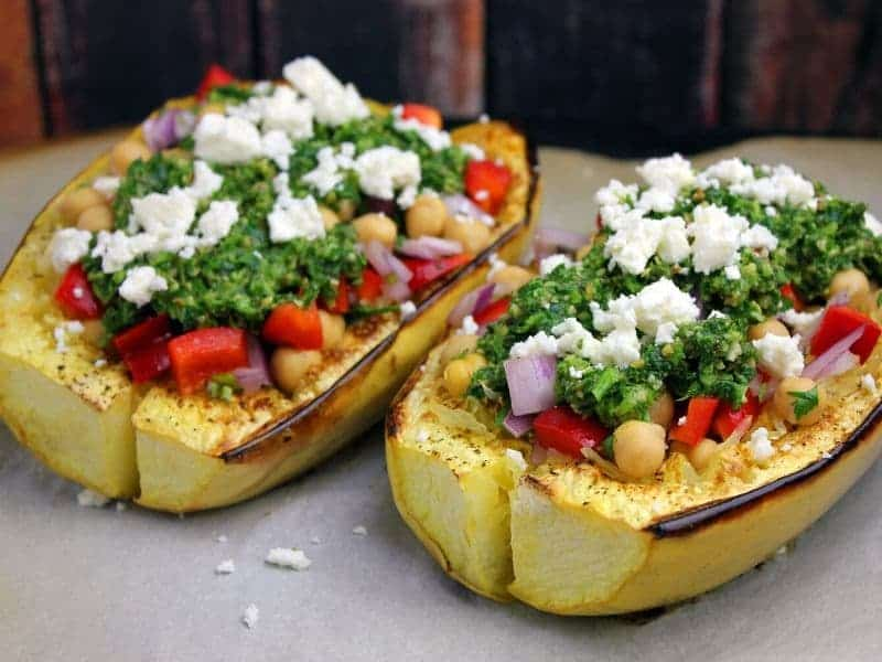 Roasted spaghetti squash topped wiht veggies and feta cheese