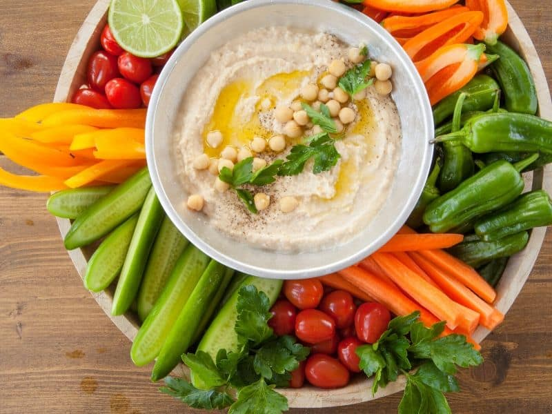 Veggie platter and hummus bowl