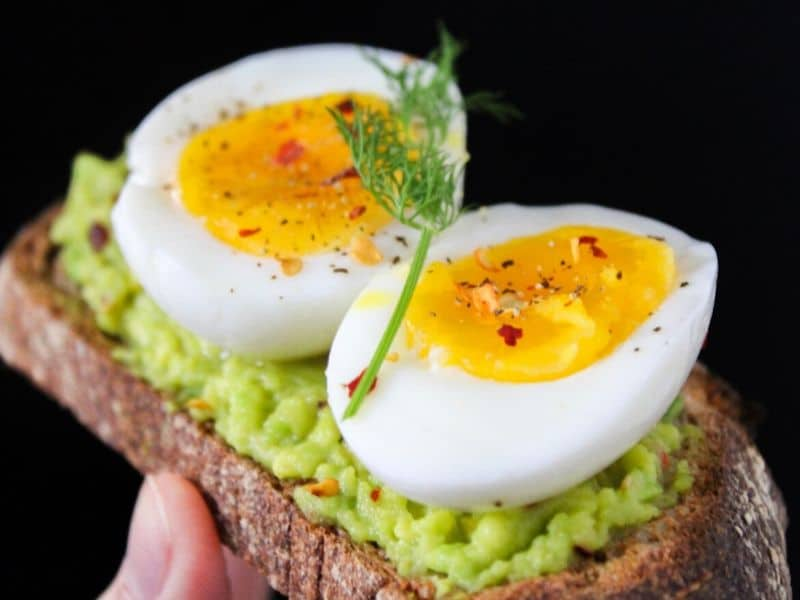 Avocado sandwich with boiled eggs