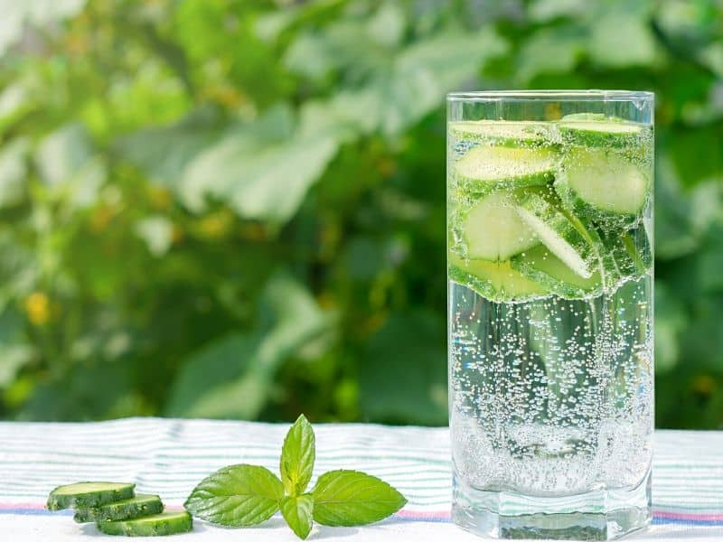 Glass of cucumber water