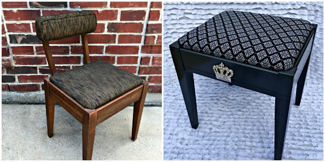 Upcycled vanity stool - before and after pictures