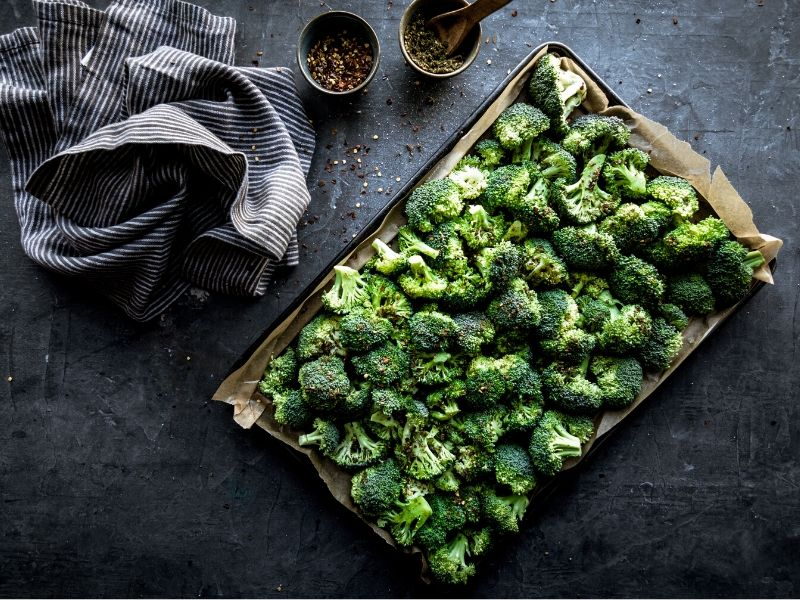 A pan of broccoli