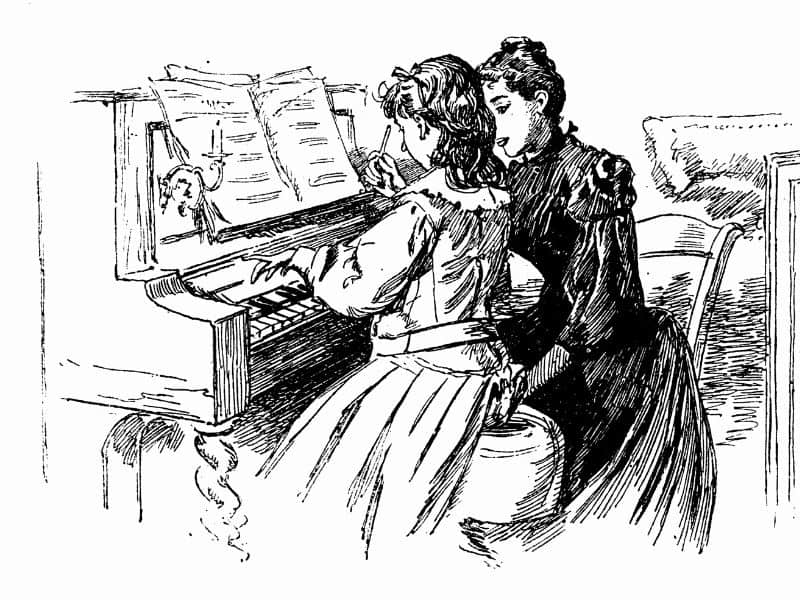 Illustration of girl learning piano