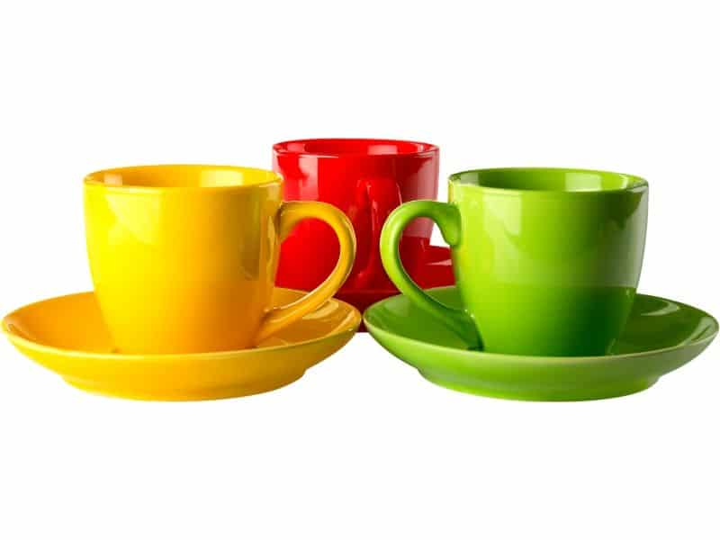 Red, yellow and green cups