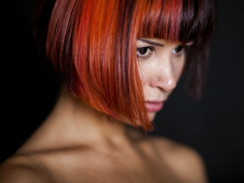Redhead with a bob haircut