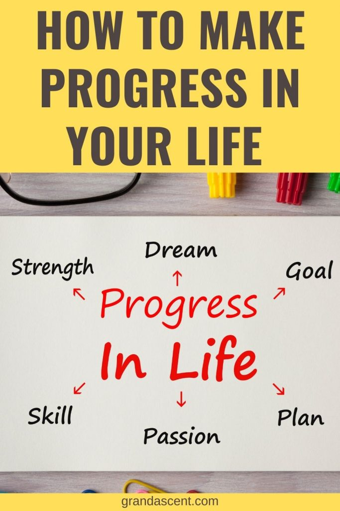 How to make progress in your life - Pinterest image