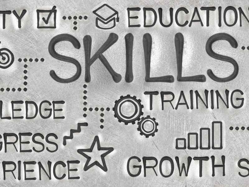 Words on a sign depicting skills