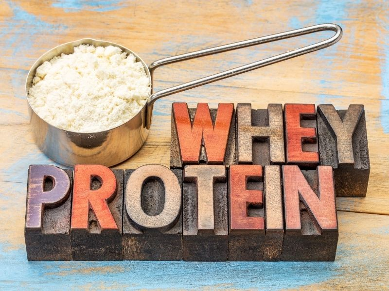 A scoop of whey protein