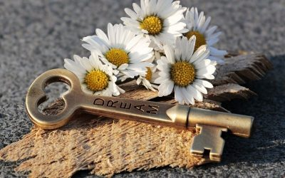 "A key engraved with ""dream"" and some white flowers"
