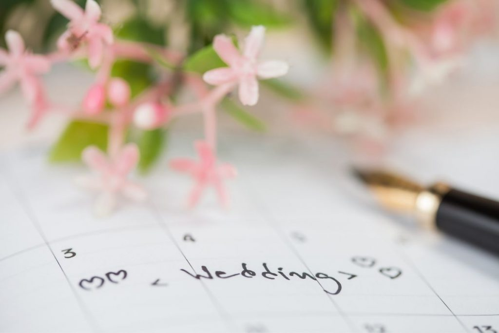 calendar with a day marked for wedding